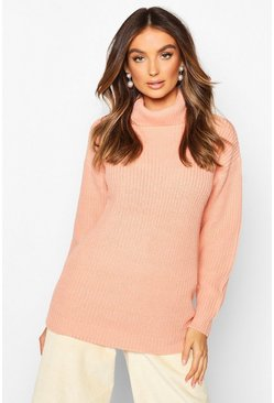 Apricot nude Fisherman Roll Neck Jumper