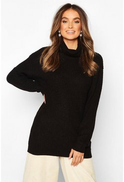 Black Fisherman Roll Neck Jumper