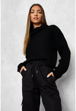 Black Cropped Fisherman Roll Neck Sweater