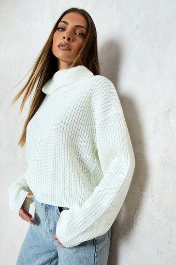 Cream white Cropped Fisherman Roll Neck Jumper