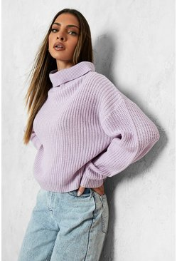 Lilac purple Cropped Fisherman Turtleneck Sweater