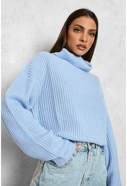 Pastel blue blue Cropped Fisherman Turtleneck Sweater