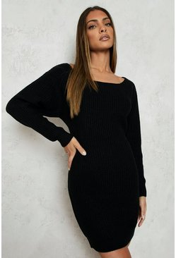 Black Slash Neck Fisherman Sweater Dress