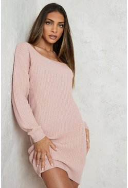 Blush pink Slash Neck Fisherman Jumper Dress