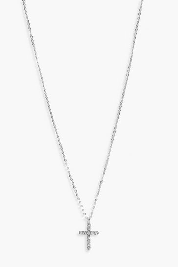 Silver Diamante Cross Pendant Necklace