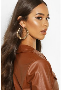 Gold metallic Bamboo Effect Oversized Hoop Earrings