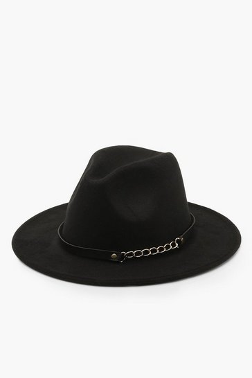 Black Chain Detail Fedora Hat