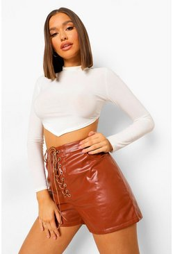 Tan brown Lace Up Front Leather Look Shorts
