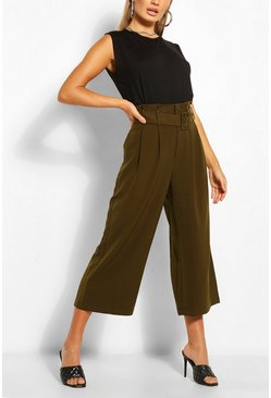 Khaki Woven Self-Fabric Belt Culottes