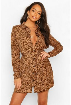 Tan brown Shirt Dress Animal Print