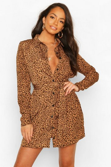 Tan brown Shirt Dress Animal Print