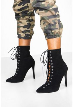Black Lace Up Stiletto Sock Boots