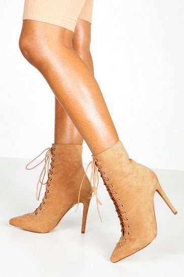 Sand beige Lace Up Stiletto Sock Boots