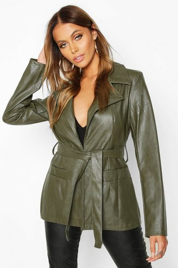 Olive green Wrap Belted Faux Leather Jacket