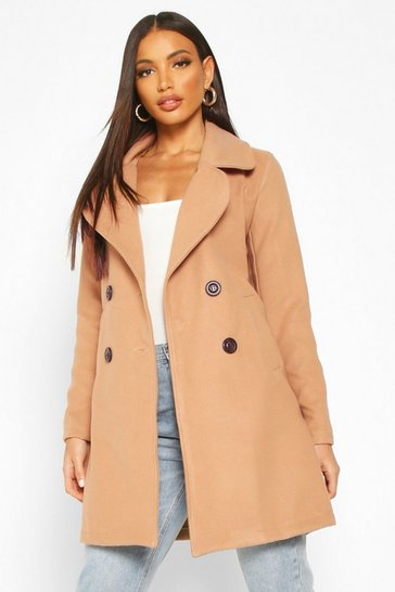 Camel beige Double Breasted Collared Wool Look Coat