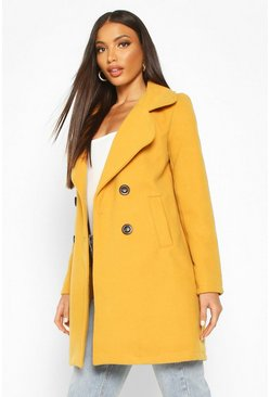 Mustard yellow Double Breasted Collared Wool Look Coat