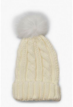 Cream white Cable Knit Faux Pom Beanie