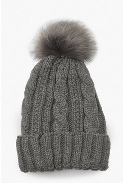 Grey marl grey Cable Knit Faux Pom Beanie