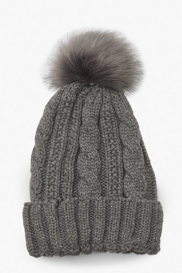 Grey marl Cable Knit Faux Pom Beanie