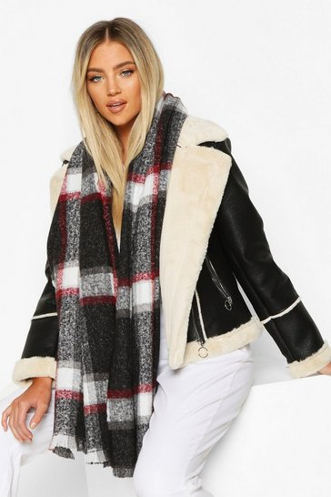 Black Check Patterned Scarf