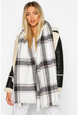 Cream white Check Scarf