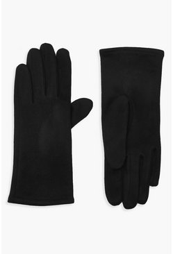 Black Faux Suedette Thick Gloves