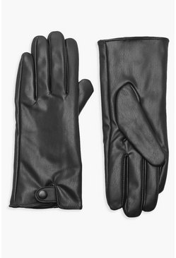 Black PU Popper Gloves