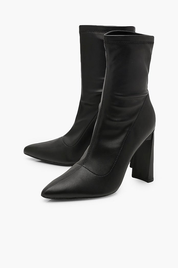 Bottines chaussettes extensibles à talons | boohoo