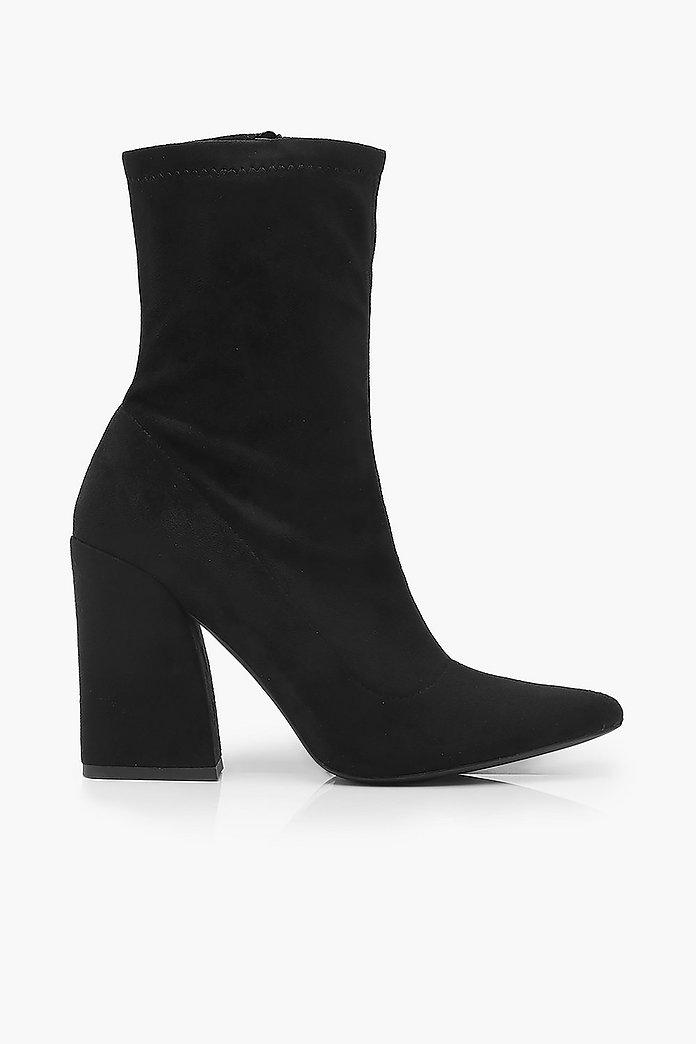 Bottes chaussettes extensibles à talons carrés | boohoo