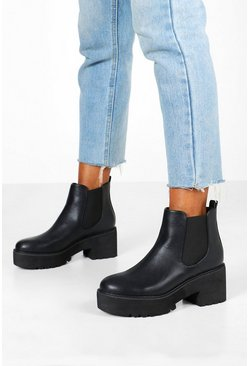 Black Chunky Platform Cleated Chelsea Boots