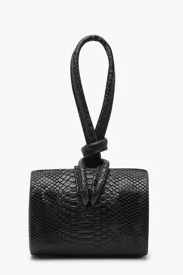 Black Snake Mini Knot Handle Clutch Bag