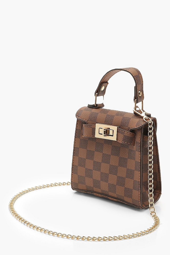 Check Mini Grab Bag & Chain | Boohoo UK