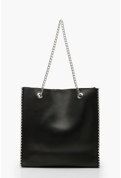 Black Premium PU & Metal Bead Detail Tote Bag