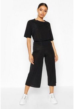 Black Slinkly Rib T Shirt and Culotte Co Ord Set
