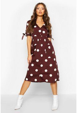 Chocolate brown Large Polka Dot Button Midi Smock Dress