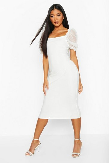Ivory white Square Neck Mesh Sleeve Midi Dress