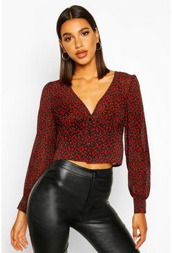 Black Ditsy Rose Fitted Waist Blouse