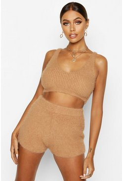 Toffee beige Fluffy Knit Shorts