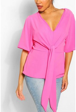 Hot pink pink Knot Front Woven Blouse