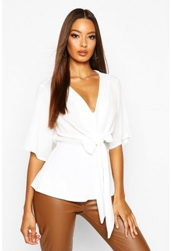 Ivory white Knot Front Woven Blouse