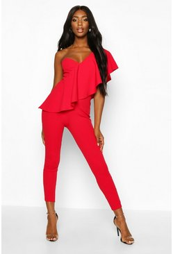 Red One Shoulder Ruffle Jumpsuit