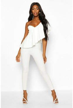White One Shoulder Ruffle Jumpsuit