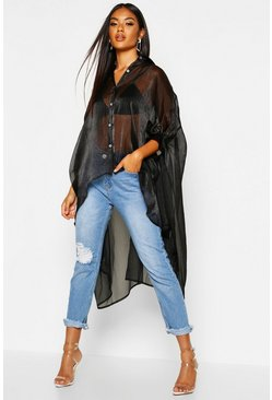 Black Oversized Organza Maxi Shirt