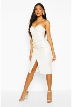 Ecru white Vinyl Bandeau Midi Dress