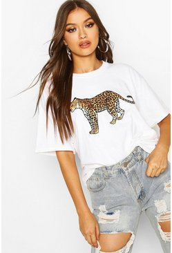 White Leopard Graphic Oversized T-Shirt