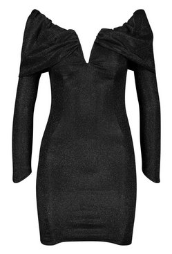 Black Glitter Metallic Bardot Bodycon Dress