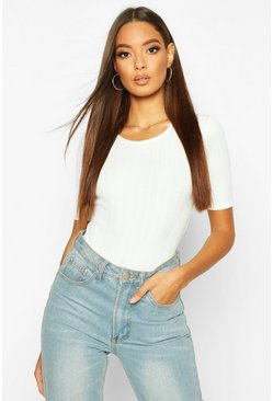 White Long Cap Sleeve Ribbed Body