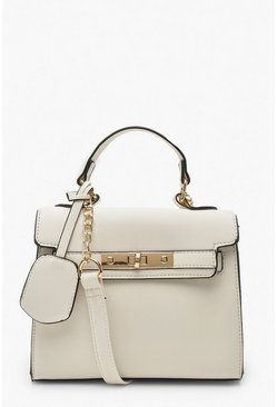 White Structured Mini Lock Crossbody Bag