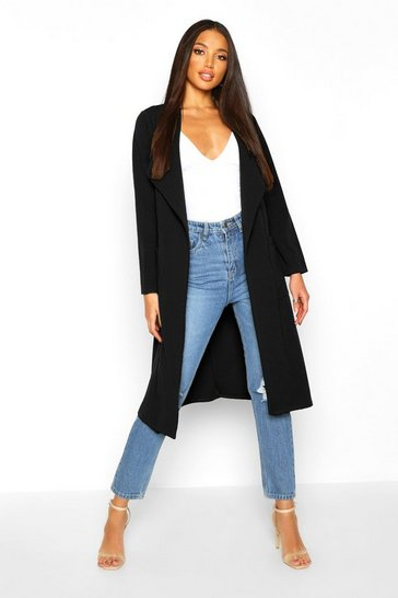 Black Utility Pocket Belted Duster