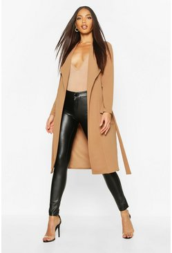 Camel beige Utility Pocket Belted Duster
